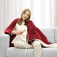 WAPANEUS Electric Heated Blanket with 3 Heating Levels and Auto Shut Off,Soft Plush Heated Sherpa Throw Blanket with…