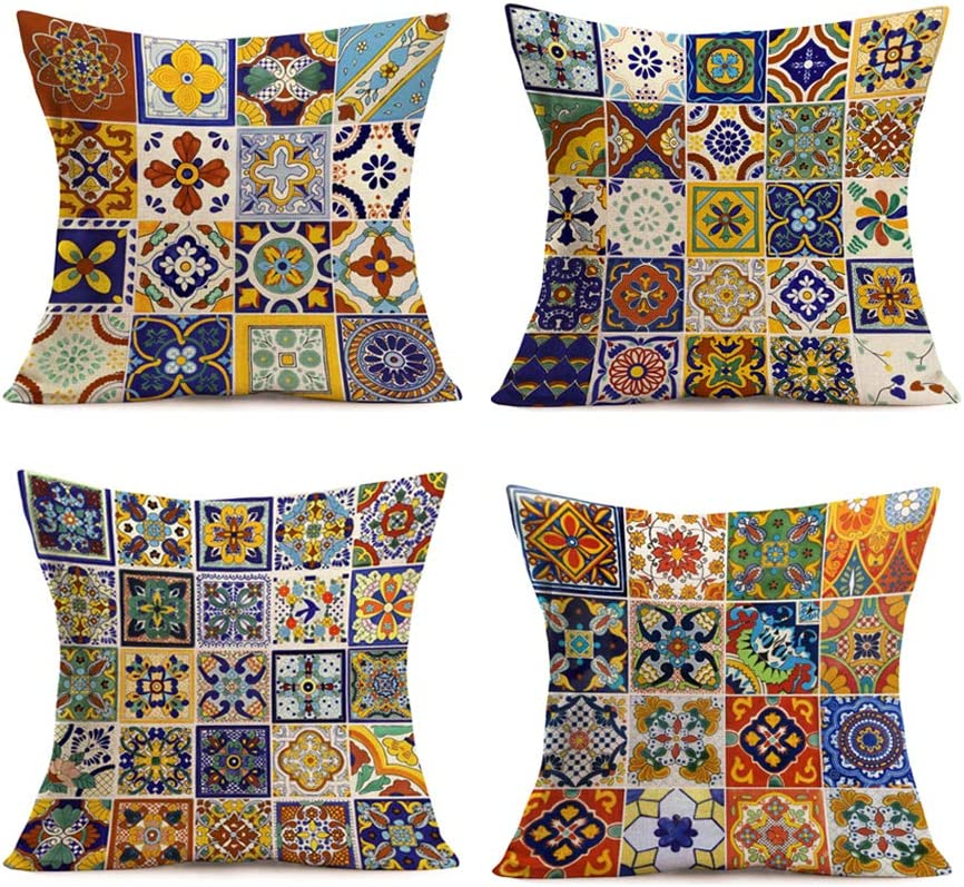 Smilyard Set of 4 Cotton Linen Throw Pillow Covers18X18 InchMexican Tiles Couch Pillow Covers Colorful PetalDesignRustic PillowcaseTiles Cushion Cover Decor Home Sofa (Mexican Tiles)