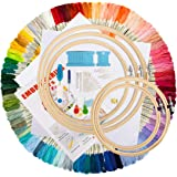 Embroidery Starter Kit,100 Color Threads,5 PCS Bamboo Embroidery Hoops,2 PCS 11.8 inches Aida Cloth,and Cross Stitch Hand Emb