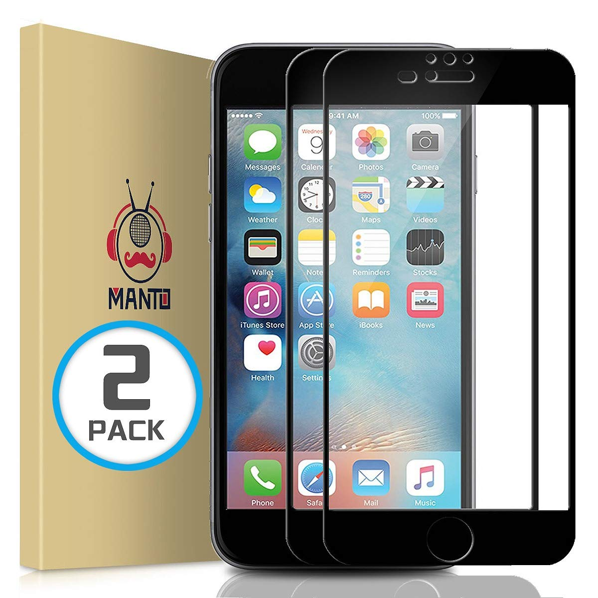 online store 776ee 72e87 MANTO Screen Protector for iPhone 8 Plus 7 Plus 6s Plus 6 Plus 5.5-Inch  Full Coverage Tempered Glass Film Edge to Edge Protection 2-Pack, Black