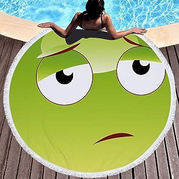 Emoji Toalla de playa grande redondo microfibra toalla de playa playa manta Toalla Mantel de picnic pared Alfombra para yoga (150 cm Amarillo 8: Amazon.es: ...