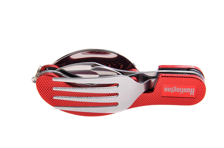 Huntington set de cubiertos de 4 piezas de metal (tenedor, cuchillo, cuchara, abrebotellas) de color rojo, K544-03 DE product image