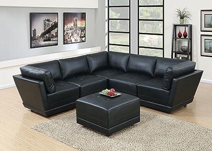 Attirant Hollywood Decor Malaga 6 Piece Modular Sectional Sofa Set In Black Bonded  Leather