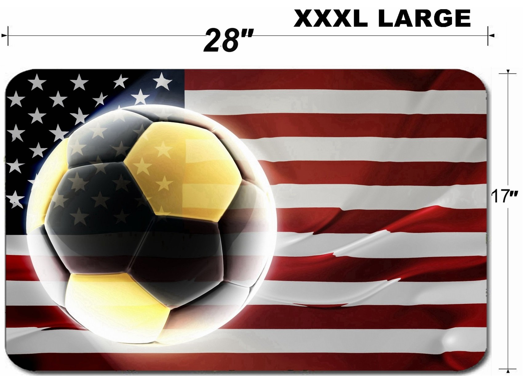 Luxlady Large Table Mat Non-Slip Natural Rubber Desk Pads Flag of United States of America national country symbol illustration wavy fabric sports so