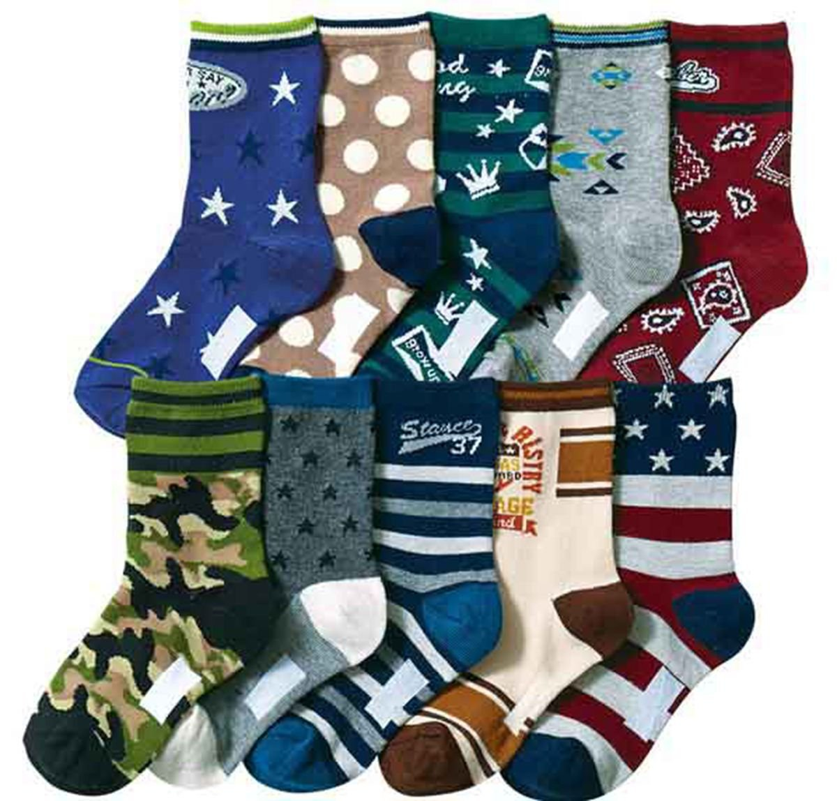 Boys Short Socks Fashion Camouflage Cotton Basic Crew Kids Socks 10 Pair Pack