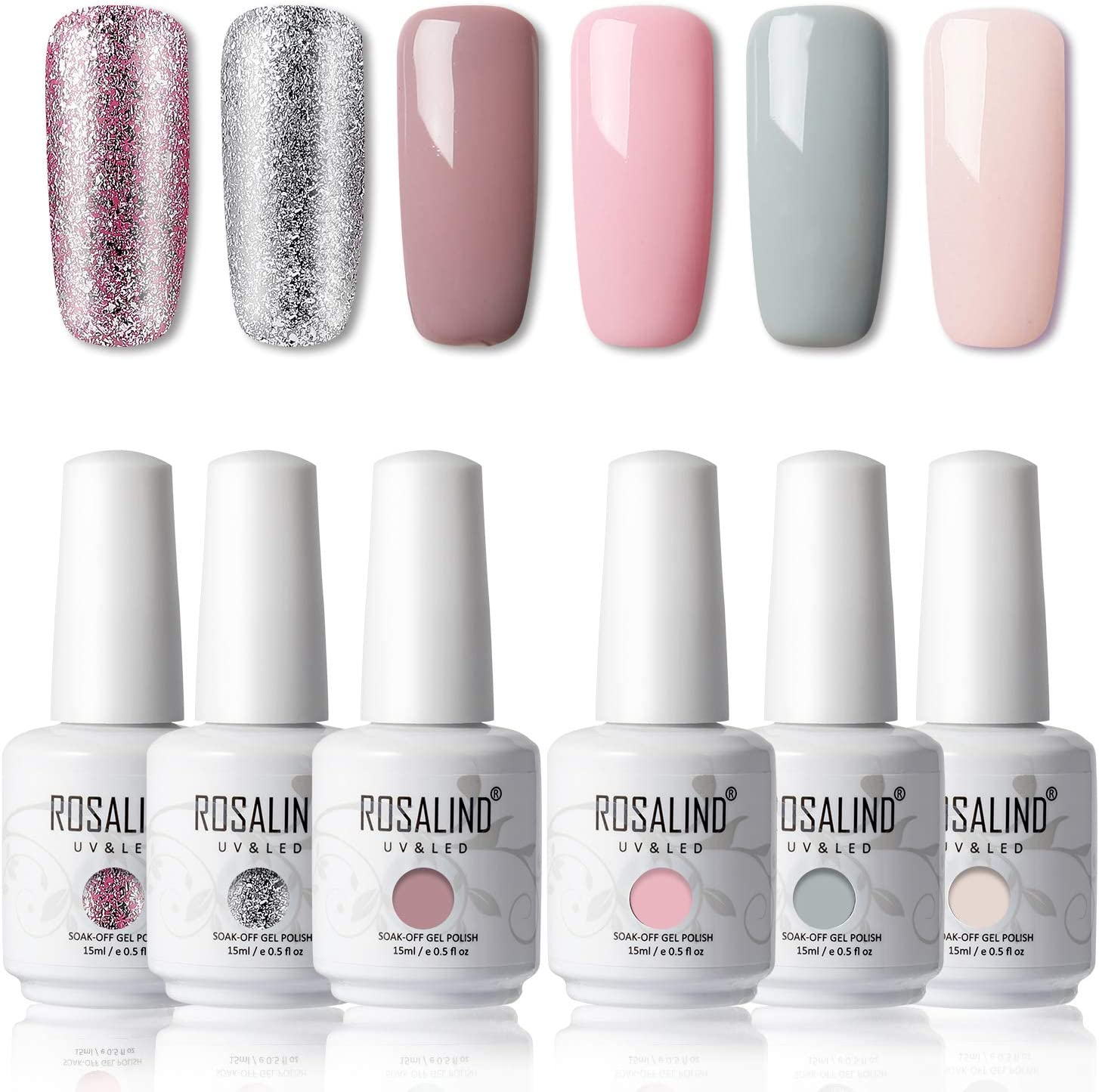 ROSALIND 15ml Esmaltes Semipermanentes de Uñas en Gel UV LED, Nude Pink Series 6 Colors Diseño de uñas Gift Box