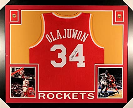 sports shoes 4fa58 f055c Hakeem Olajuwon Signed Rockets 35x43 Custom Framed Jersey ...