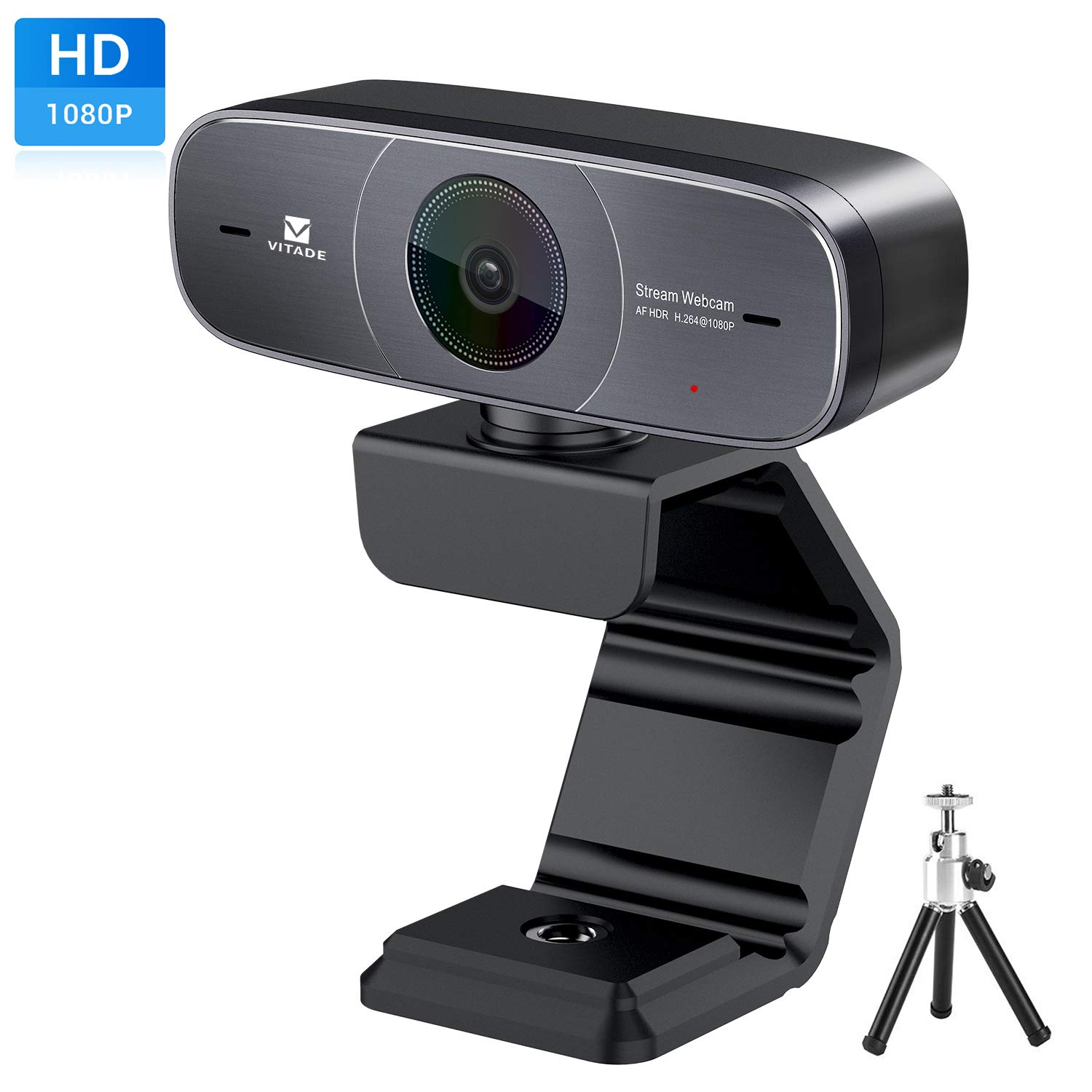 Mac Webcam, HD 1080P Webcam with Microphone for Streaming, 925A HDR USB Computer Web Camera Pro Video Cam for Mac PC Windows Skype Obs Twitch YouTube Xsplit Xbox One -Tripod included by Vitade