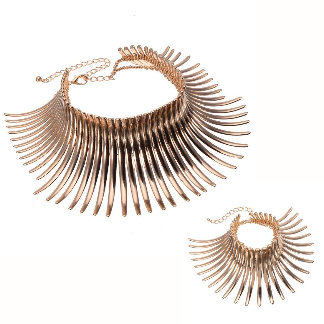 Fashion Sparkling Canine Shape Short Choker Collar Statement Necklace (Bracelet Set Gold Tone)