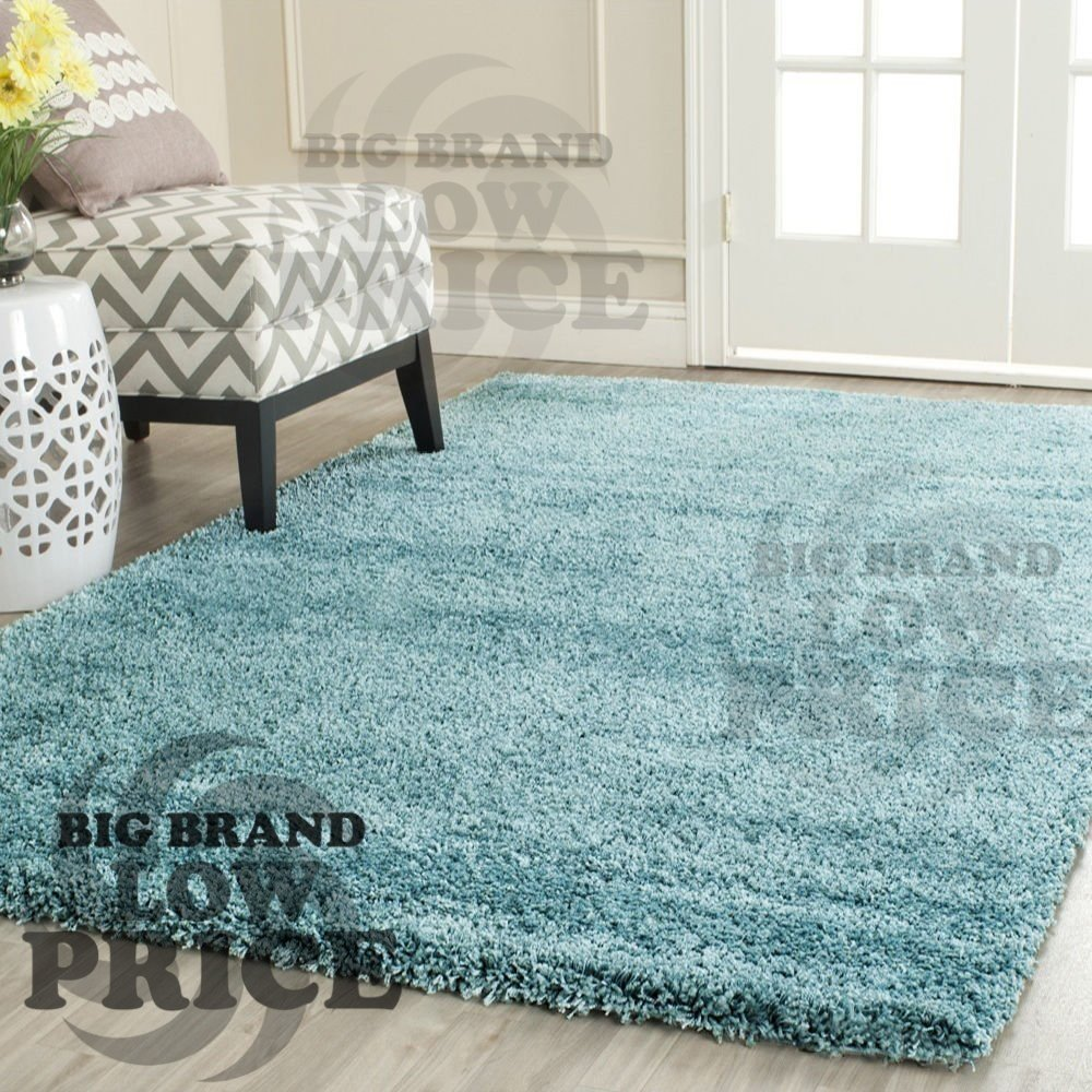 FB FunkyBuys® Modern Soft Touch Shaggy Thick Luxurious Duck Egg Blue 5cm Dense Pile Bedroom Rug -Available in 5 Sizes (66 x 110 cm)