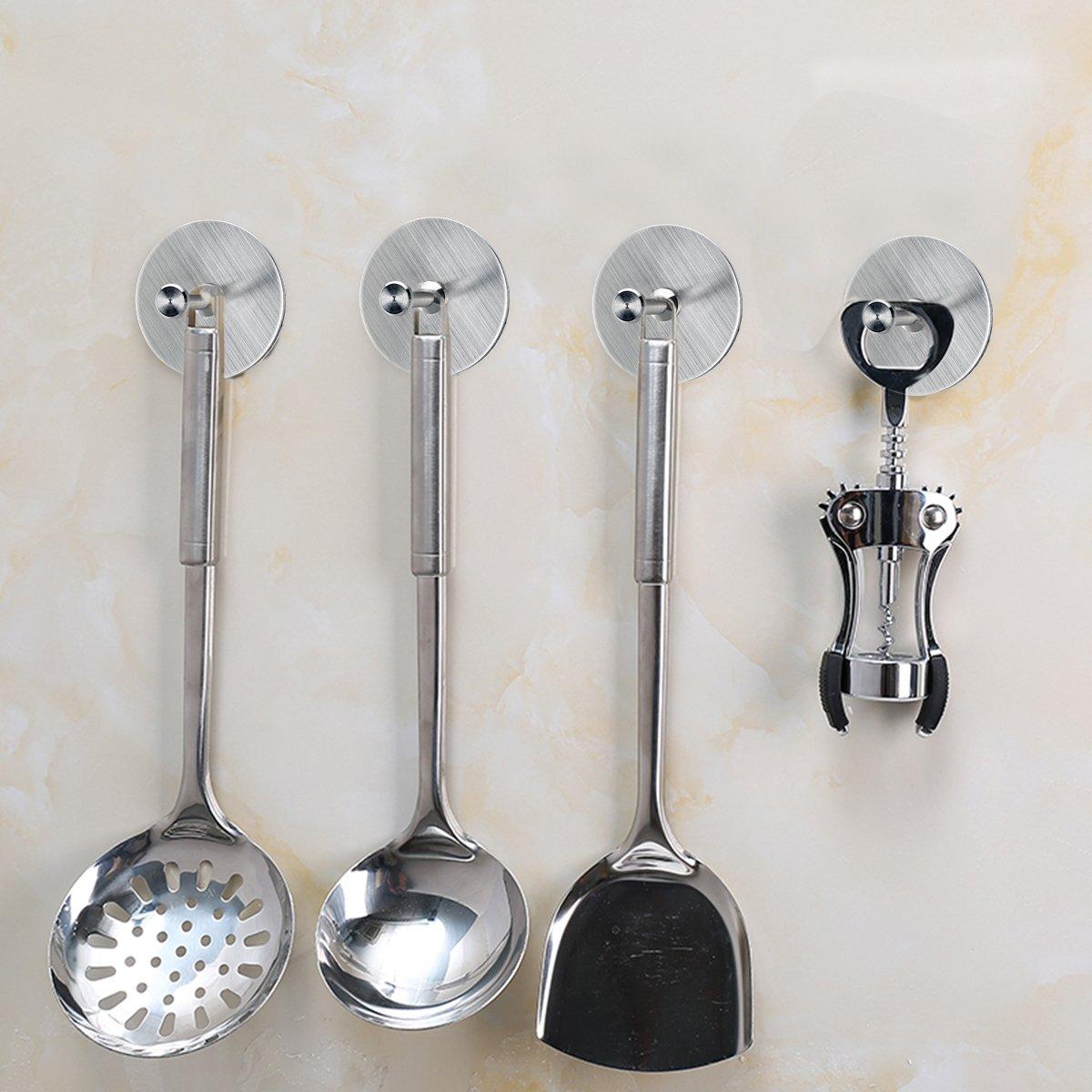 FOTYRIG Self Adhesive Hooks Heavy Duty Wall Stainless Steel Waterproof Robe/Towel Hooks for Bathroom Kitchen Garage-4 Packs by FOTYRIG (Image #7)