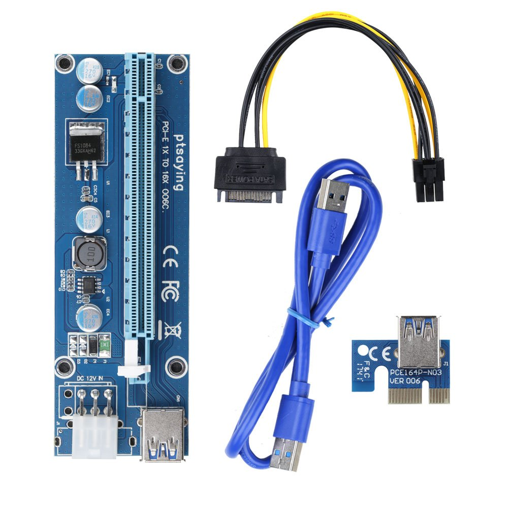 PCIe Riser Ptsaying PCI-E 16x 8x 4x 1x Powered Riser Adapter Card With LED hint w/ 60cm USB 3.0 Extension Cable & 6-Pin PCI-E to SATA Power Cable - GPU Riser Adapter - Ethereum Mining ETH(3 pack) by Ptsaying (Image #3)