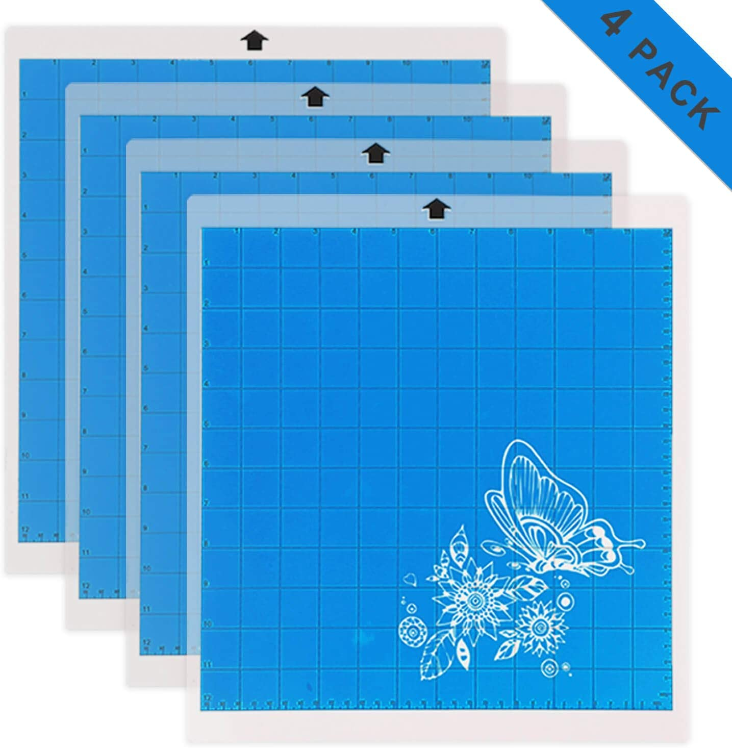 Adhesive Cutting Mat Replacement Set Matts Vinyl Craft Strong Grip Cutting Mat for Cricut for Silhouette Cameo 4 Packs 12 x 12