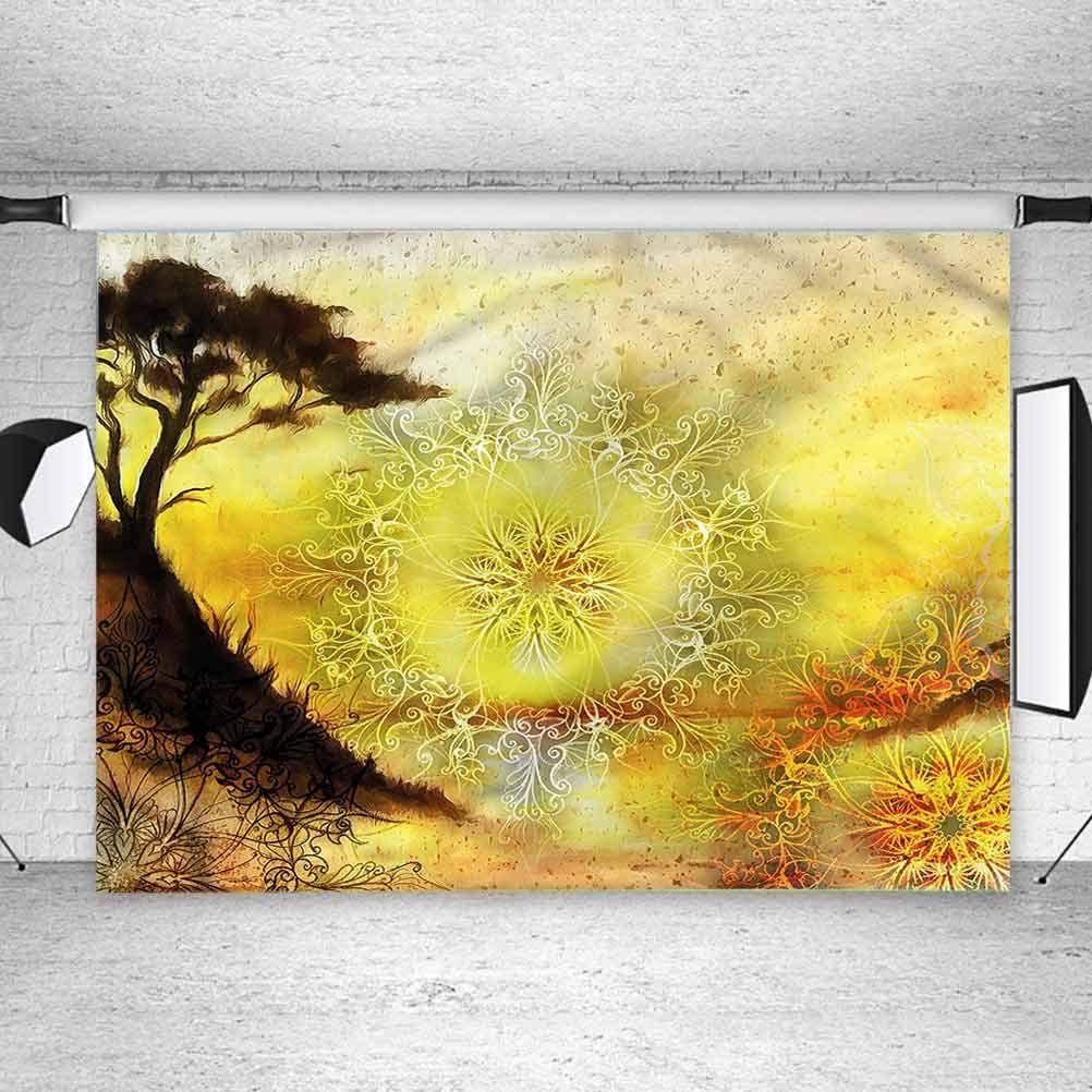 5x5FT Vinyl Photo Backdrops,Yellow,Dreamy Landscape Photo Background for Photo Booth Studio Props