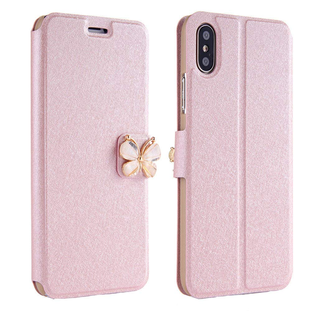 Women Girls Flip Case Cover Leather Wallet Magnetic Case Cover Skin for iPhone Xs 5.8inch/Max 6.5inch/XR 6.1inch (iPhone Xs 5.8inch, Khaki)