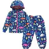 LZH Toddler Baby Boys Girls Raincoat Waterproof Hooded Jacket Dinosaur Coat+Pants Suit