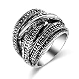 Amazon Price History for:Dnswez Vintage Silver Oxidized Intertwined Statement Rings Multi-Layer Wide Band Ring for Women Men Width: 22mm