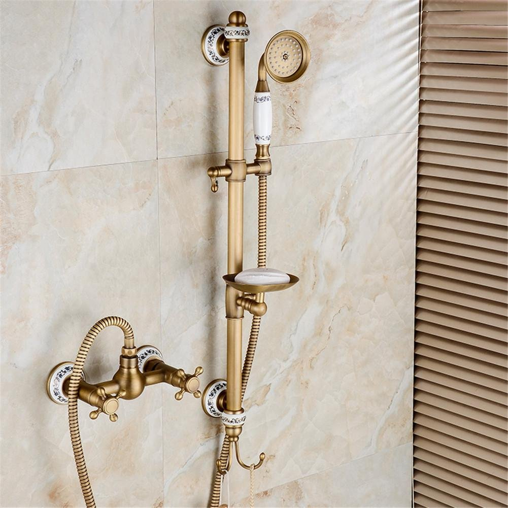 GAOF Wall mounted Antique Copper Bath Shower Faucet Rotating Tub Filler Ceramic Style Lift Sliding Bar With Soap Dish HJ-67040