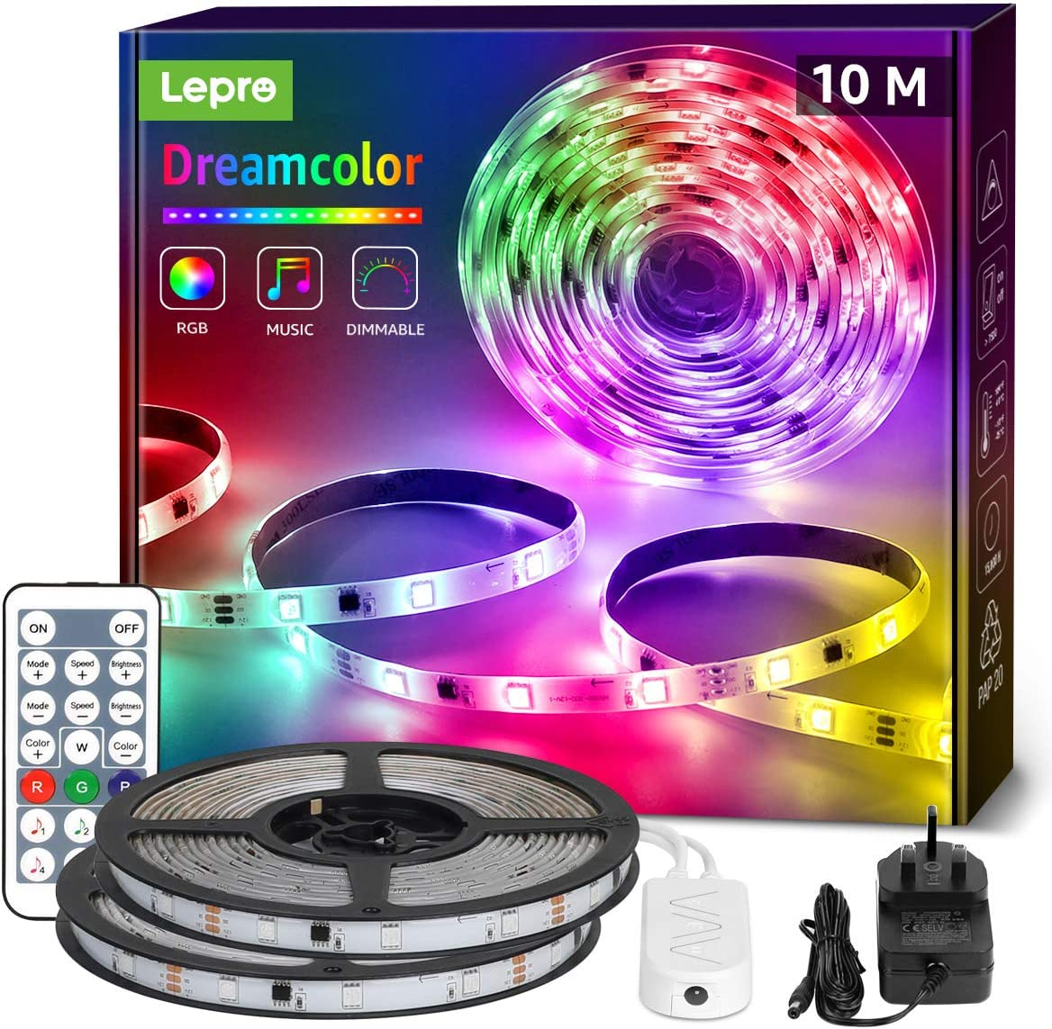 Lepro 10M Dreamcolor LED Strip Lights with Remote for £26.35