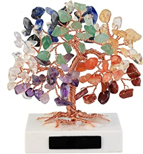 "Jovivi 3.54""-4.7"" Mini Natural 7 Chakra Healing Crystals Money Tree Tumbled Gemstones Bonsai Fortune Tree on Marble Base Feng Shui Ornaments for Good Luck, Wealth Home Office Decor Spiritual Gift"