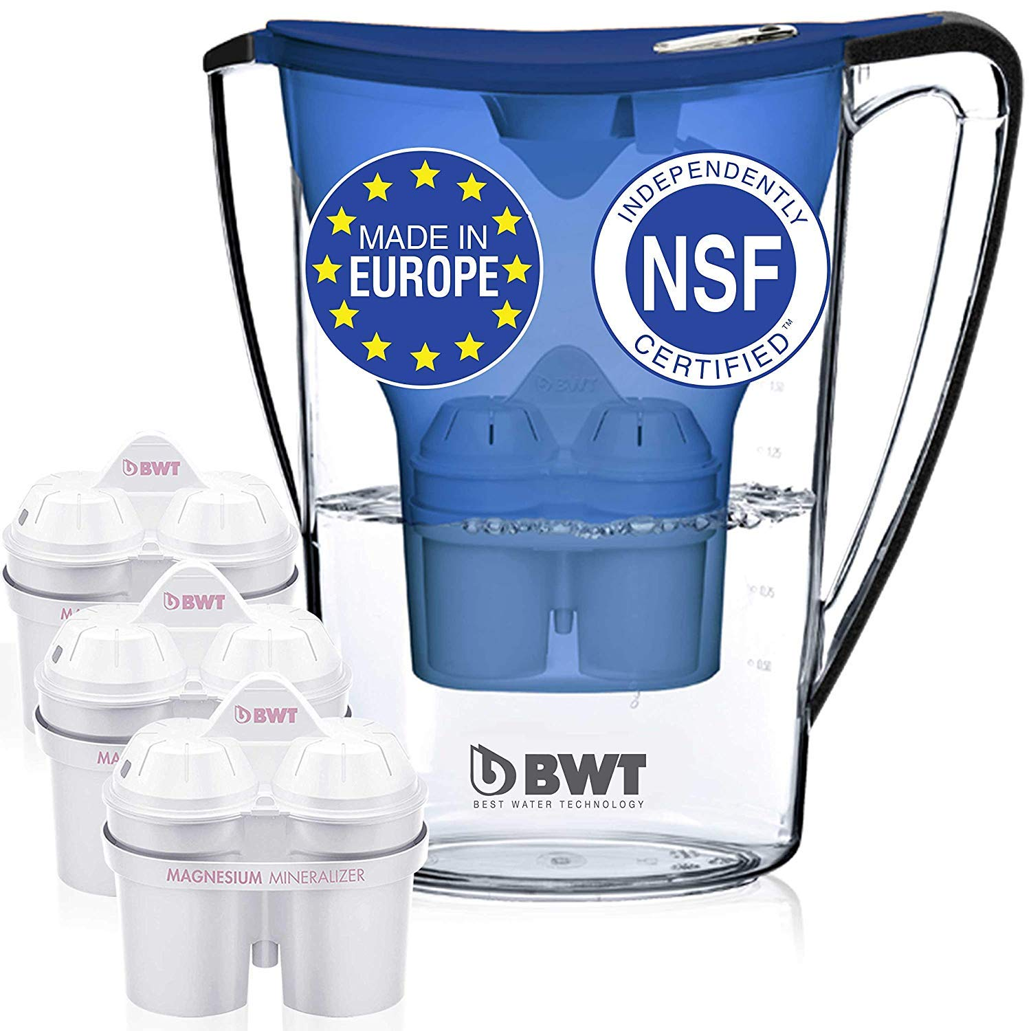BWT Premium Water Filter Pitcher with 3 (60 Day) Filters Included, Award Winning Austrian Quality, Technology For Superior Filtration & Taste by BWT