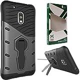 DMG Sniper Dual Layer Hybrid Back Cover Kickstand Case for Motorola Moto G4 Plus (Black)