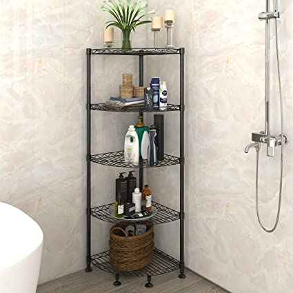 Amazon.com: Lifewit 5-Tire Corner Wire Shelf Bathroom Corner Shelf ...