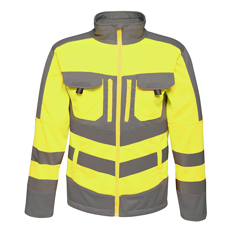 Regatta TRA473SM9PQ Tactical Hi-Vis Extol Stretch F//Z Jacket Yellow//Grey Size Small