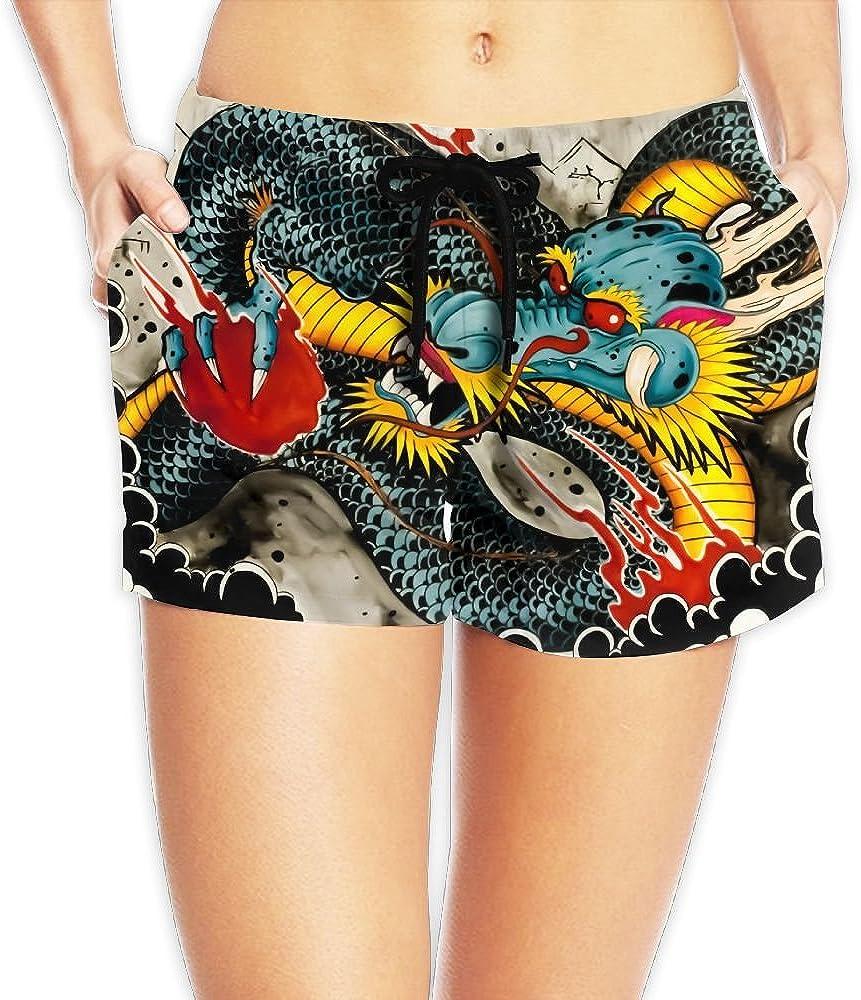 Colorful Dragon Women Girl Short Beach Pant Quick-Drying Board Pants