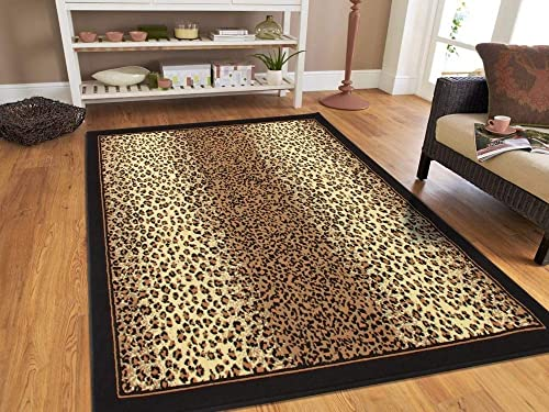 Modern Area Rugs Brown Cheetah Leopard 5×8 Rugs for Living Room 5×7