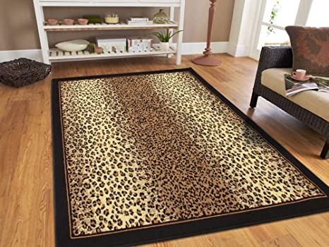 6ca8ccb9ca Amazon.com   Modern Area Rugs Brown Cheetah Leopard 5x8 Rugs for ...