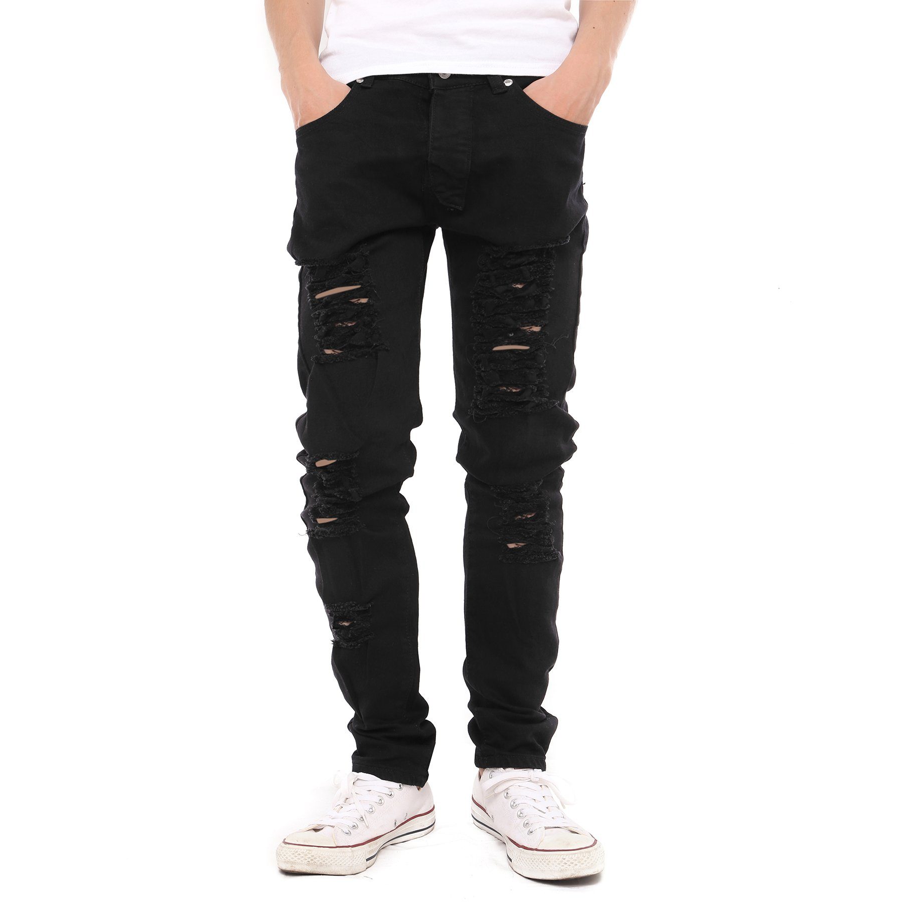 Just No Logo Men's Skinny Hipster Skinny Ripped Gothic Jeans(36W)