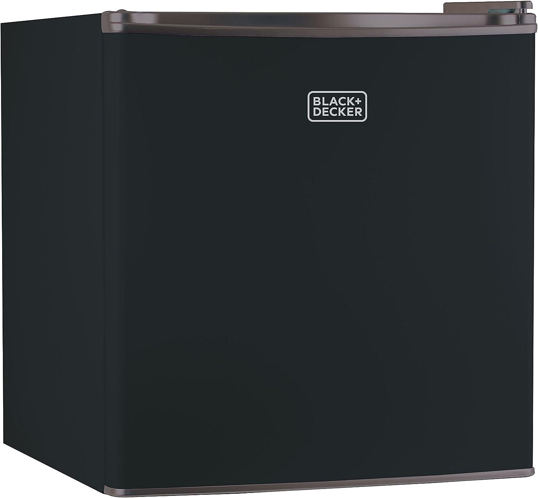 BLACK+DECKER BCRK17B Compact Refrigerator Energy Star Single Door Mini Fridge with Freezer, 1.7 Cubic Feet, Black