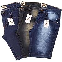 Kit com 3 Bermudas Jeans Masculinas Slim Com Elastano