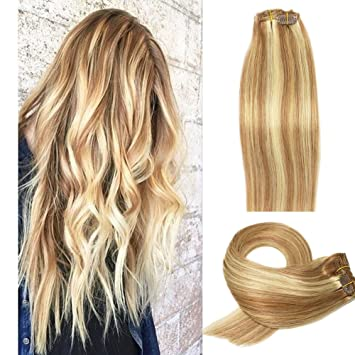 Clip In Human Hair Extensions Golden Brown with Bleach Blonde Highlights  #12P613 Clip In Hair