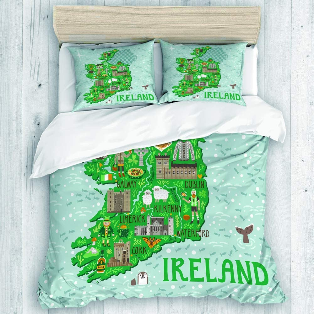 CHANHAAN Duvet Cover Set,Map of Ireland Travel with Irish Castles People Symbols Traditional Food,Decorative 3 Piece Bedding Set with 2 Pillow Shams Twin Size