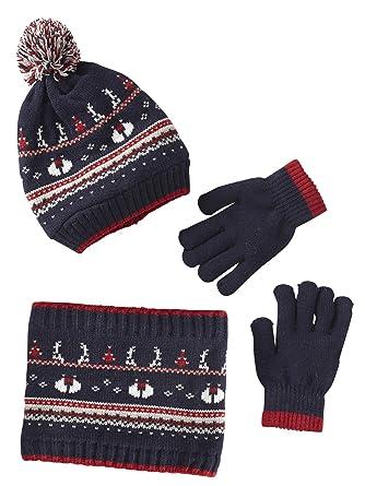 33b493a142d Vertbaudet Coffret cadeau C est le pompon garçon bonnet + snood + moufles  ou gants