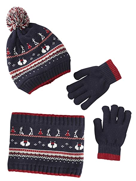 VERTBAUDET Conjunto para niño de gorro + snood Navidad Azul oscuro liso con  motivos 12 14 ANOS  Amazon.es  Ropa y accesorios e9a027f98eb