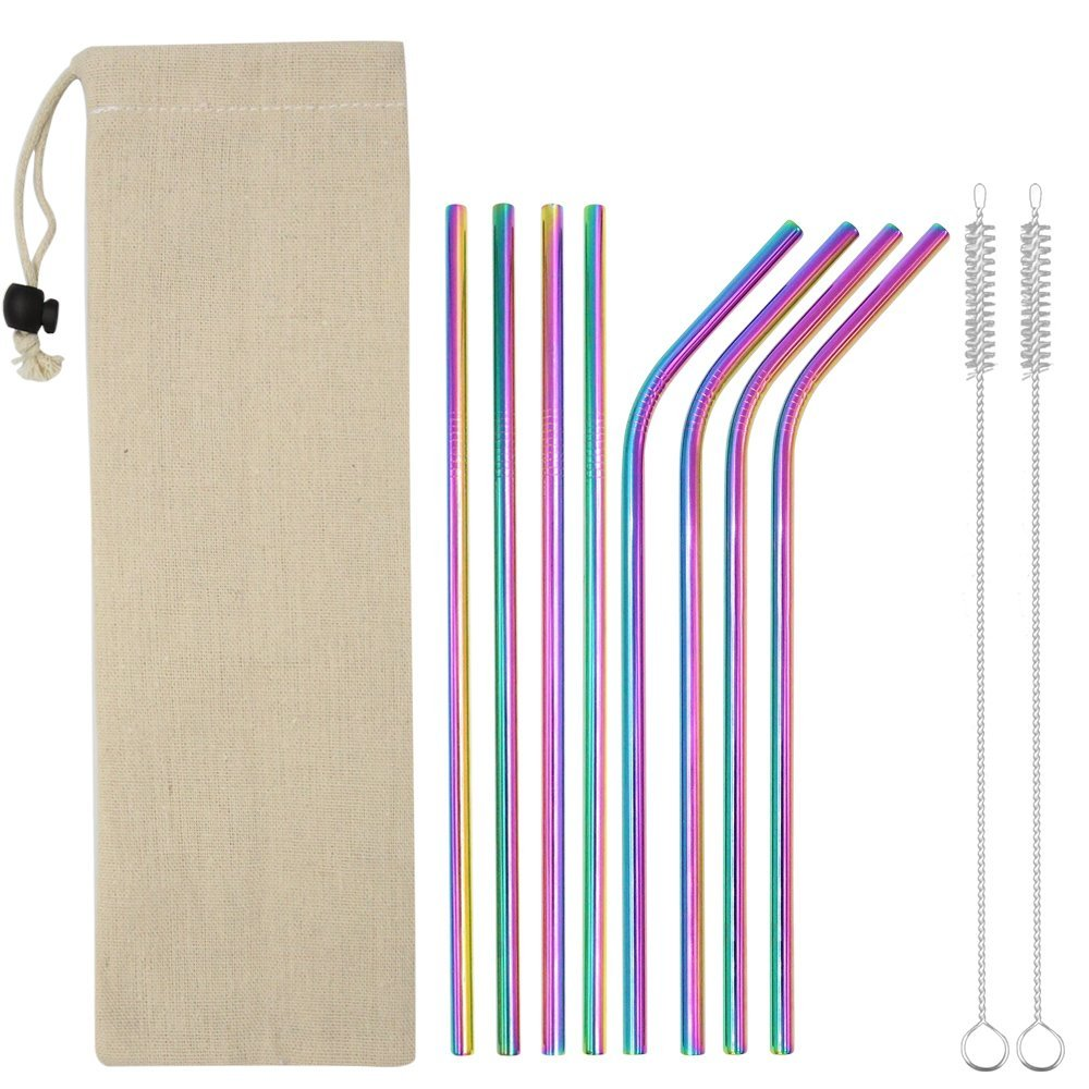 INTLIFE Stainless Steel Straws for 20oz Tumblers Cups Mugs, Set of 8 Reusable Metal Drinking Straw with Clean Brush for 20 ounce Yeti Ozark Trail Rambler Rtic - Multicolor