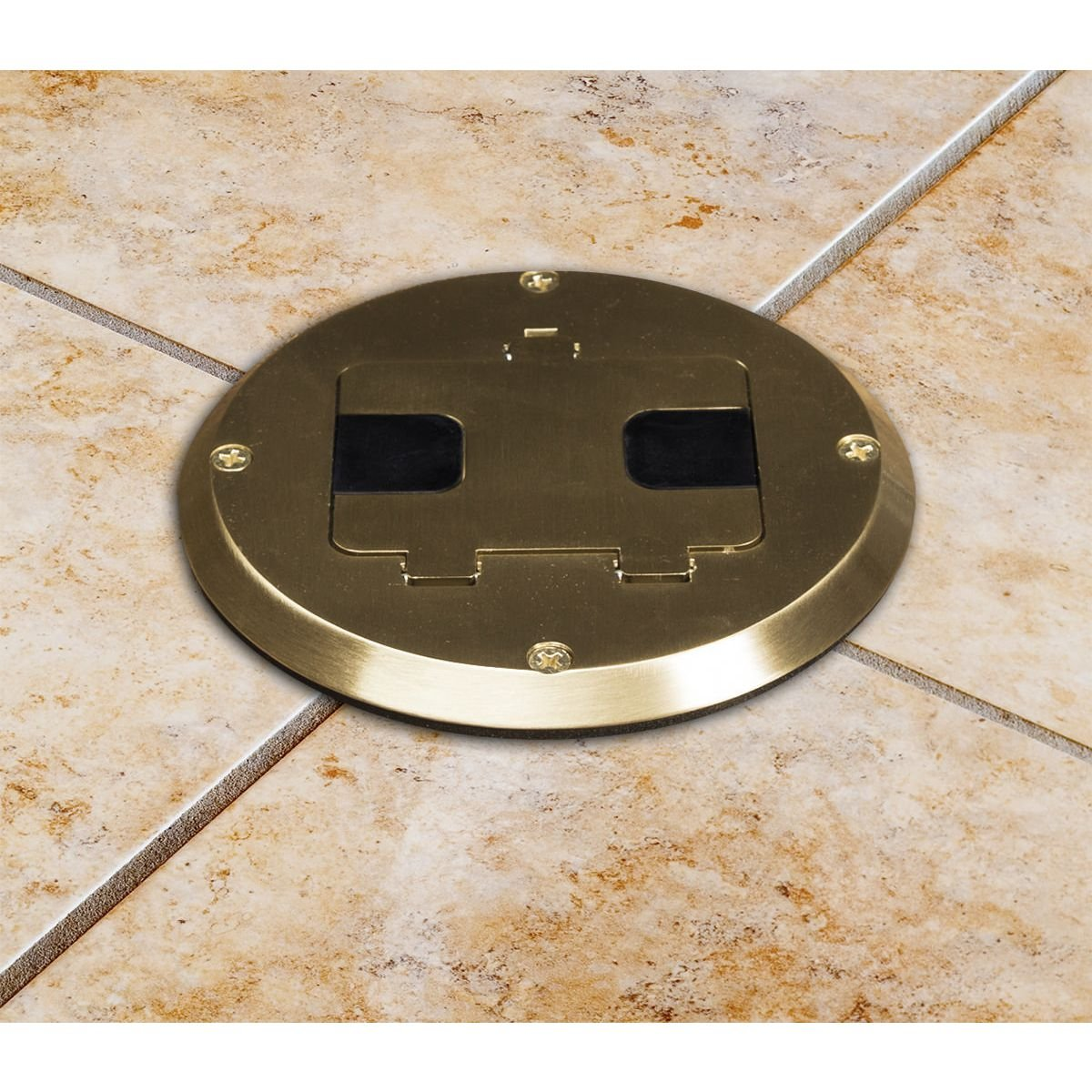 Hubbell 6239bp Concealed Receptacle Floor Box Kit Brass Finish Platecover Housing Assembly Google On Cable To Cat5 Wall Plate Wiring Electric Plugs