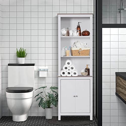 HOMCOM 69 Wood Free Standing Bathroom Linen Tower Storage Cabinet – White