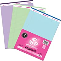 Roaring Spring - 74100 Enviroshades Legal Recycled Legal Pad, 8-1/2 X 11 in, 40 Sheets, Assorted Color, Pack of 3…