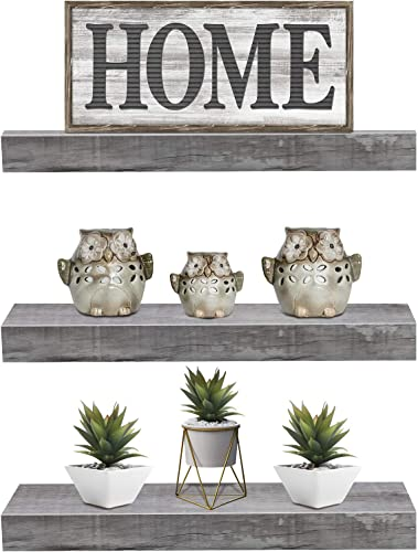Sorbus Floating Shelf Set Rustic Wood Hanging Rectangle Wall Shelves Perfect for Home D cor, Trophy Display, Photo Frames, and More 3-Pack, Grey