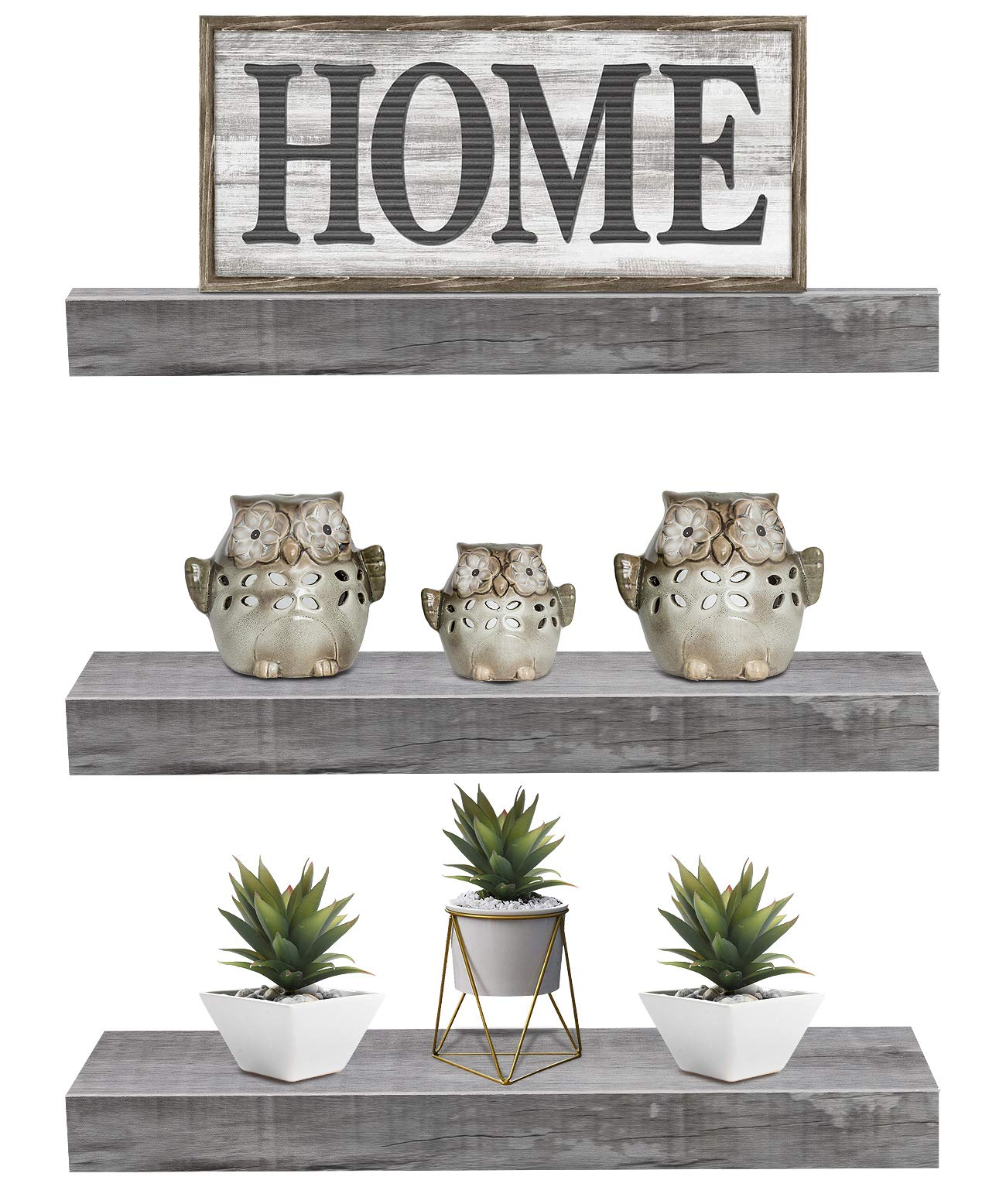 Sorbus Floating Shelf Set - Rustic Wood Hanging Rectangle Wall Shelves - Perfect for Home Décor, Trophy Display, Photo Frames, and More (3-Pack, Grey) by Sorbus