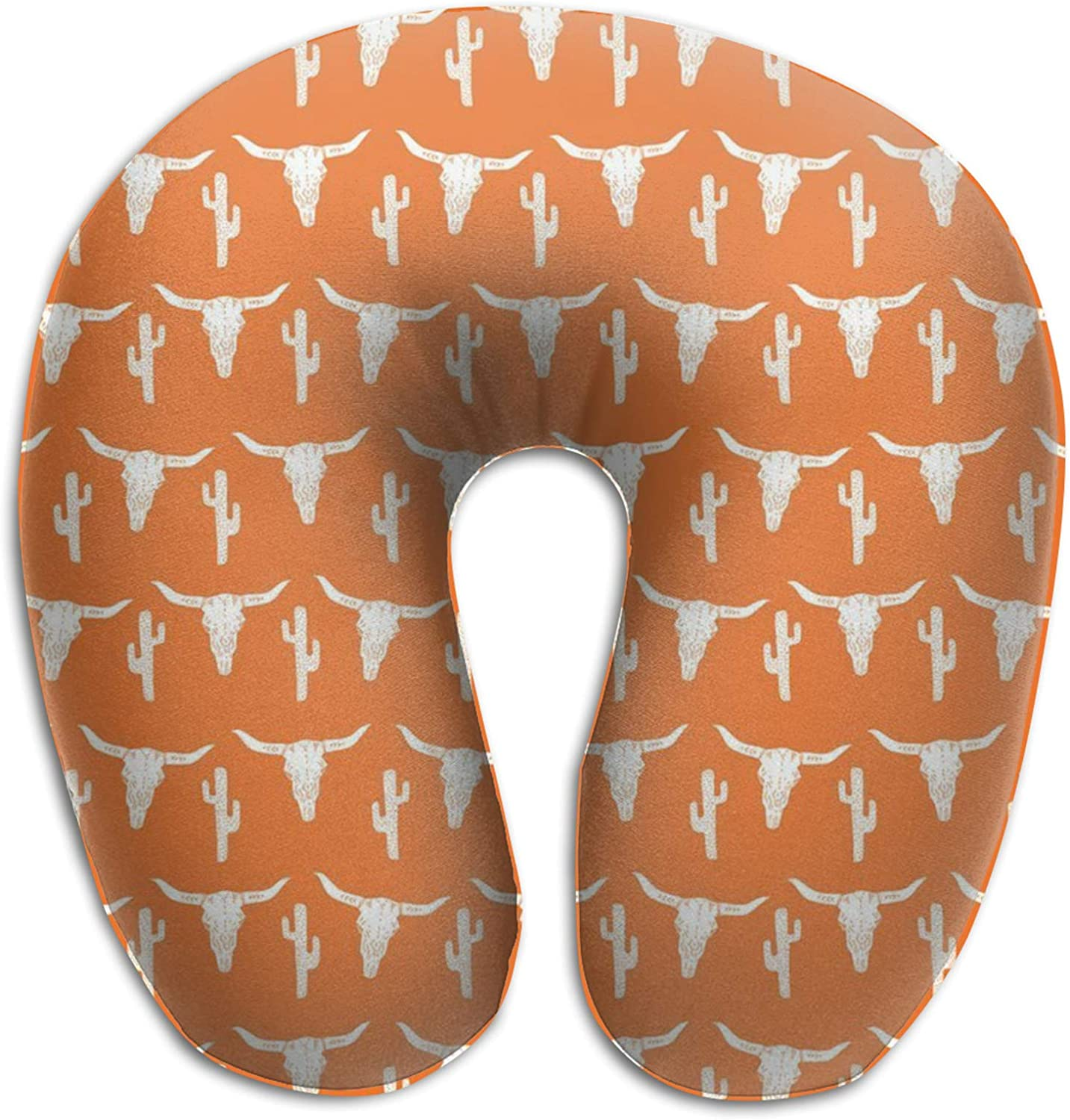 NiYoung Memory Foam Travel Pillow, Longhorn Cattle Cow Texas Skull Cactus U Shaped Pillow Breathable Comfortable Neck Pillow for Airplane, Car, Train, Bus and Home Use