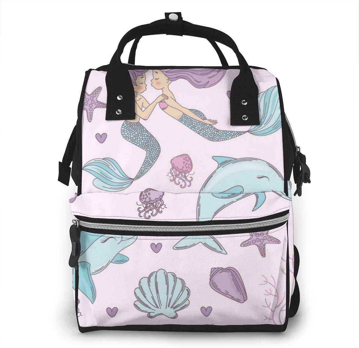 Bolsa de pañales de gran capacidad, impermeable, bolsa de repuesto para el cuidado del bebé, versátil, elegante y duradera, apta para mamá y papá (delfín appy sirena boda bajo el agua mar)