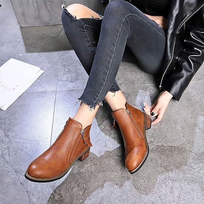 Botines tacón Medio Ancho Mujer Invierno PAOLIAN Botas Chelsea de Botas Militares Tobillo bajo Forradas Piel Retro Zapatos Cuero Negras Señora Calzado ...
