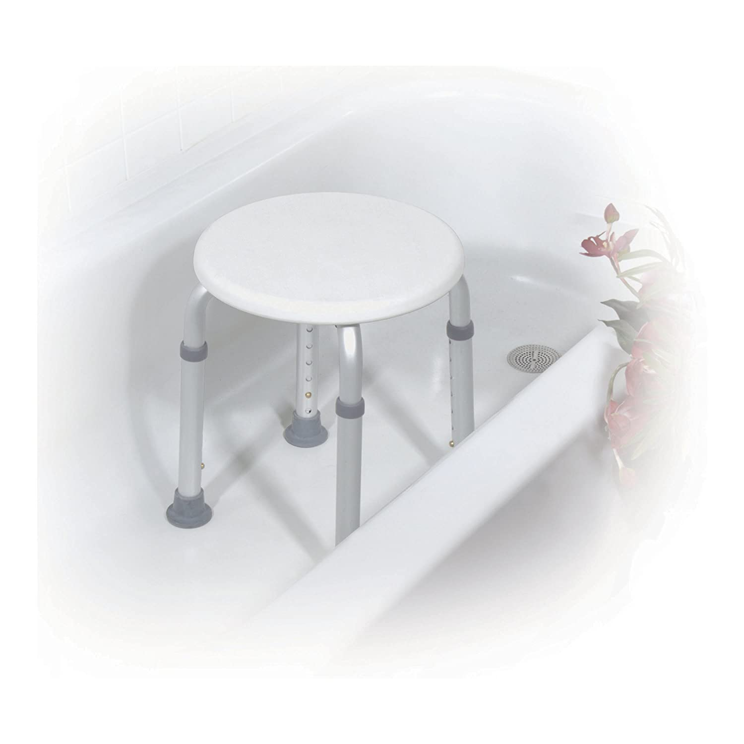 Amazoncom Drive Medical Adjustable Height Bath Stool, White Health &