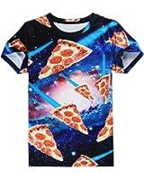 T Shirt Men Hip Hop Short Sleeve Summer Tops Tees Clothing 3D Food Pizza