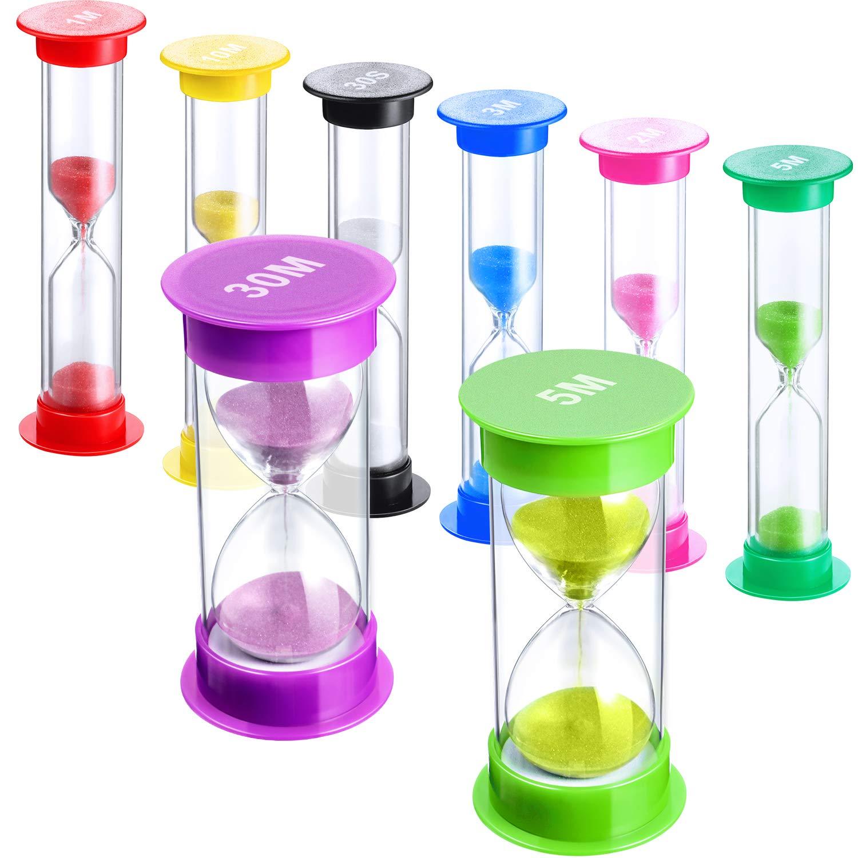 30S 1 Min 2 Min 3 Min 5 Min 10 Min 30 Min 8 Pezzi Timer di Sabbia Plastica Timer a Clessidra Colorato Timer Orologio di Sabbia Timer di Sabbia da Gioco per Utilizzo da Cucina Ufficio Riunione